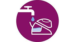 Poate fi utilizat cu apă de la robinet, reumple oricând în timpul călcatului
