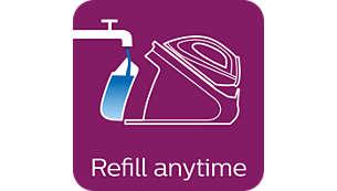 Geschikt voor kraanwater, elk moment bij te vullen tijdens het strijken
