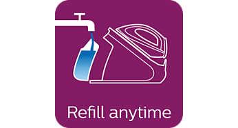 Musluk suyu ile kullanılabilir; ütüleme sırasında istediğiniz zaman yeniden doldurun