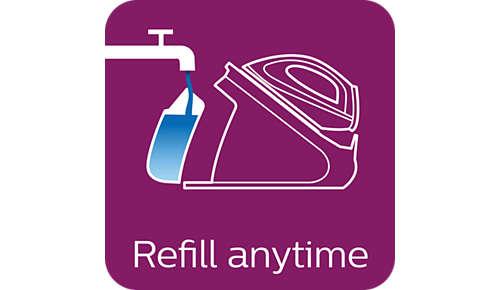 Admite el uso de agua del grifo y puedes rellenarla en cualquier momento durante el planchado