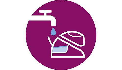 Fonctionne avec l'eau du robinet, remplissage à tout moment