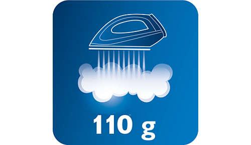 Colpo di vapore fino a 110 g, per eliminare anche le pieghe più ostinate