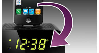 Auto clock synchronization with iPod/iPhone/iPad when docked