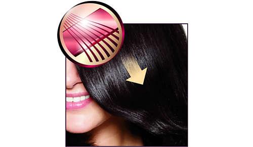Dubbelt så skonsamt för håret tack vare SilkySmooth keramiska plattor