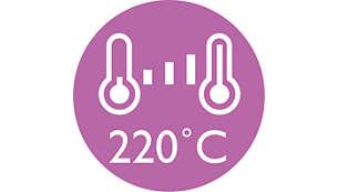 Pontos beállítás a 220 °C-ig szabályozható hőmérsékletnek köszönhetően