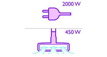 Moteur de 2000W pour une puissance d'aspiration jusqu'à 450W