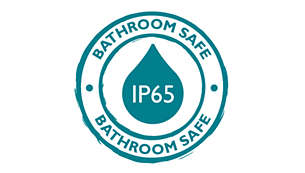 IP 65, perfectly suited for shower lighting
