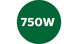 750 W:n moottori tehokkaaseen käsittelyyn