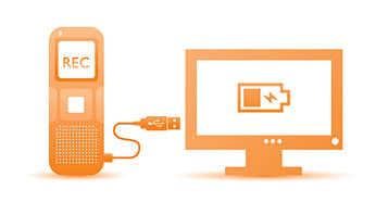 Enregistrement et recharge de la pile par USB pour un usage illimité