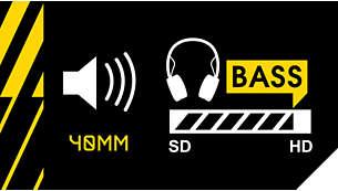 Controladores de 40mm dinámicos que ofrecen sonido nítido y graves profundos