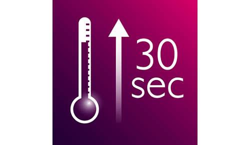 Krótki czas nagrzewania, gotowość do użycia po 30 sekundach