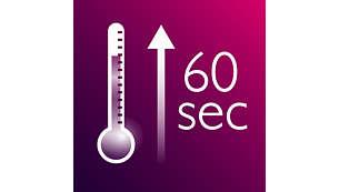 Gyors felmelegedés, 60 mp-en belül használatra kész