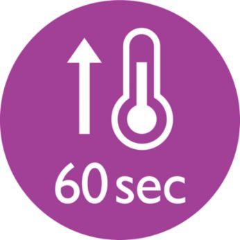 Kısa sürede ısınma özelliğiyle 60 saniyede kullanıma hazır
