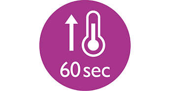 Tempo de aquecimento rápido, pronto a usar em 60 segundos