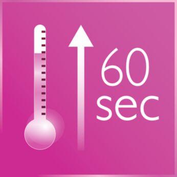 Calentamiento rápido: lista para usar en 60 segundos