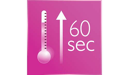 Riscaldamento rapido; pronta all'uso in 60 secondi