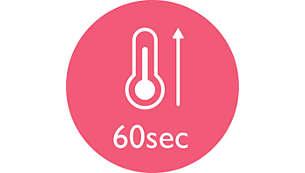 Calentamiento rápido: lista para usar en 60segundos
