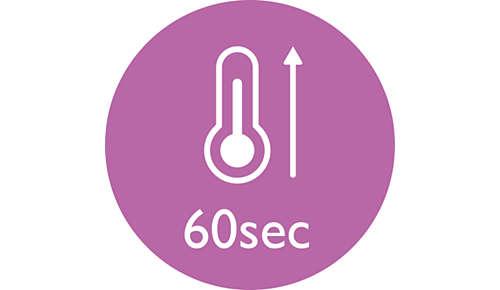 Lämpenee käyttövalmiiksi 60 sekunnissa