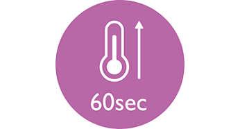 Snelle opwarmtijd, binnen 60 seconden klaar voor gebruik