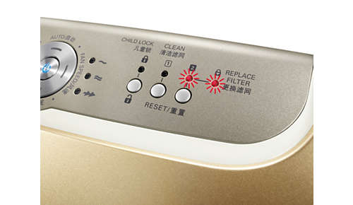 Het beschermingsalarm voor gezonde lucht waarschuwt u wanneer u het filter moet vervangen