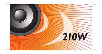 Os 210 W RMS de potência reproduzem um excelente som para filmes e músicas