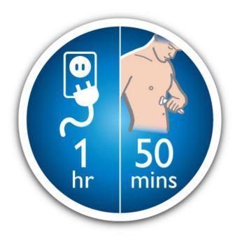 50 минут использования беспроводной после того, как 1 час быстрой зарядки