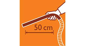 Erikoispitkän ergonomisen kädensijan ansiosta ulotut kaikkialle