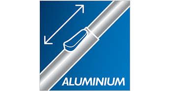 A kis súlyú teleszkópos alumíniumcső kényelmessé teszi a takarítást