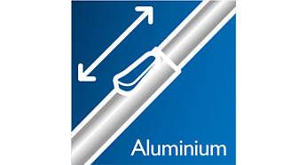 Bekväm städning tack vare det lätta aluminiumröret