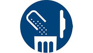 Design avansat al compartimentului pentru praf pentru o golire igienică