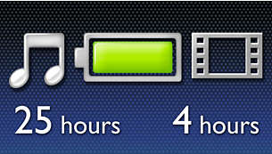Enjoy up to 25 hours of music or 4 hours of video playback