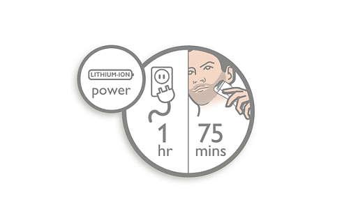 75 minuten draadloos gebruik na slechts 1 uur opladen