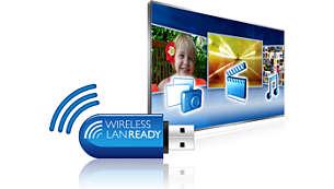 Conexão wireless simples com adaptador USB wireless opcional