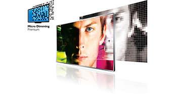 Технология Micro Dimming Premium приглушает яркость отдельных сегментов светодиодной подсветки для лучшей контрастности