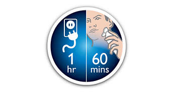 Up to 60 shaving minutes, 1 hour charge