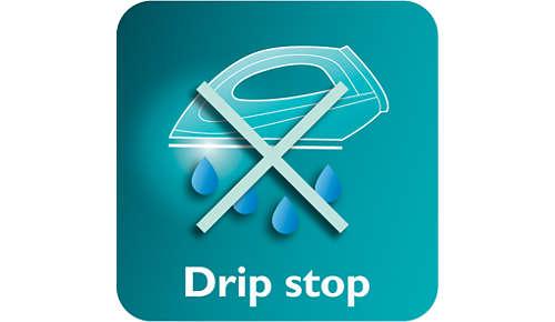 Droppstoppsystemet gör att dina klädesplagg förblir fläckfria när du stryker