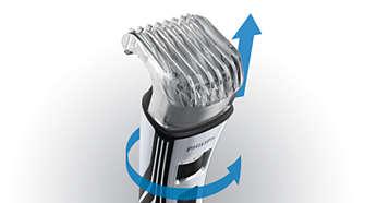 Barbeador com 12 ajustes de comprimento: de 0,5mm a 10mm