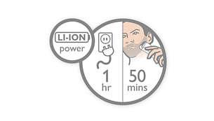 1 時間の高速充電で 50 分間コードレス使用可能