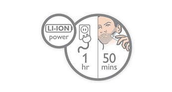50 minutos de uso sin cable después de 1 hora de recarga rápida.