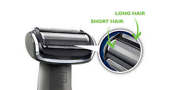 Trim and shave head shaves longer hairs in a single stroke