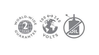 2- year guarantee, worldwide voltage, no oil needed