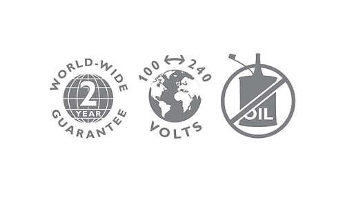 2 års garanti, spänning för användning i hela världen, ingen olja behövs