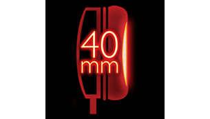40 mm garsiakalbiai užtikrina galingus žemuosius dažnius