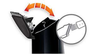 Otwierana głowica ułatwia czyszczenie przy użyciu dołączonej szczoteczki