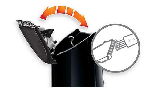 Díky otevírací hlavě je čištění přiloženým kartáčem snadné