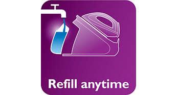 Herausnehmbarer 1,5-Liter-Wassertank, bis zu 2Stunden bügeln