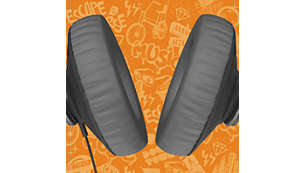 Memory foam cushions keep you comfortably immersed in music