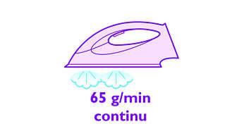 Nepertraukiamas galingas garas iki 65 g/min.