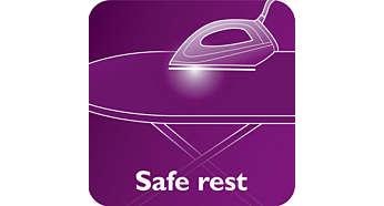 Die heiße Bügelsohle kann sicher auf dem Bügelbrett abgestellt werden