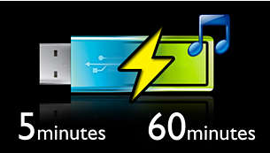 Quick 5-minute charge for 60 minutes of play